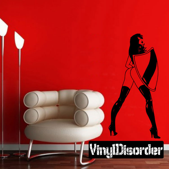 Woman with Shield and High Heels Decal