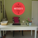 Rounded Scallop Style Happy Mothers Day Sticker