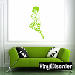 Woman with Striped Stockings and Glasses Decal