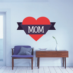 MOM Heart Banner Mother's Day Sticker