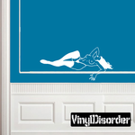 Relaxing Topless Woman in Nylons Decal