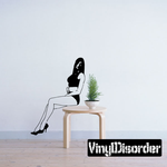 Sitting Woman in Short Shorts Decal