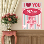 I Heart You Mom Happy Mother's Day Butterfly Sticker