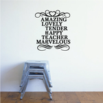Amazing Lovely Tender Happy Teacher Marvelous Mothers Day Quote Decal
