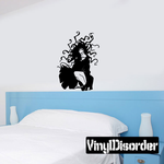 Crouching Woman with Wild Hair Decal
