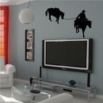 Horse Drawn by Riding Cowboy Decal