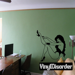 Sitting Woman in Lingerie and Heels with Leg Outstretched Decal