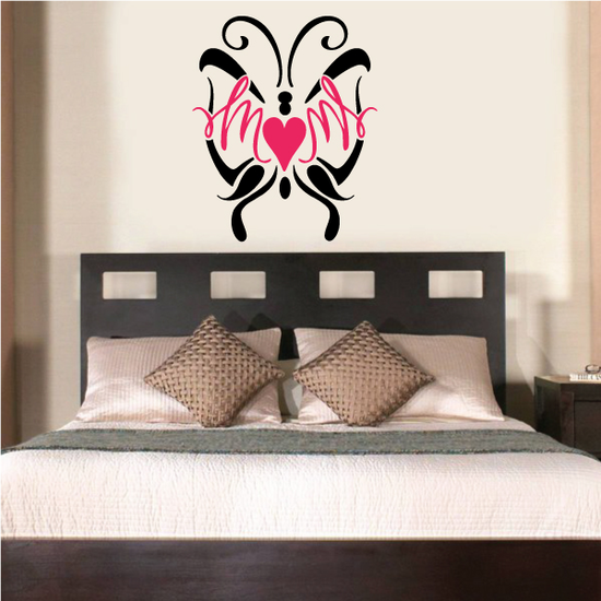 Butterfly Mom Heart Printed Die Cut Decal