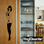 Shy Woman in Lingerie and Heels Decal