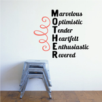 Marvelous Optimistic Tender Heartfelt Enthusiastic Revered Mom Mother's Day Decal