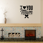 I Love You Mum Heart Ribbon Decal