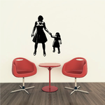Mother And Daughter Walking Holding Hands Mother's Day Decal