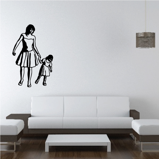 Strolling Mother Daughter Holding Hands Decal