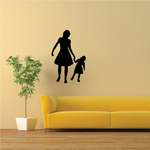 Strolling Mother Daughter Holding Hands Silhouette Decal