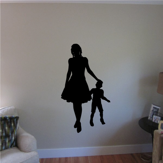Mother Patting Son Mothers Day Silhouette Decal