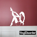 Sitting Woman in Lingerie and Thigh Highs with Leg Outstretched Decal
