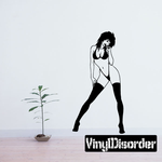 Short Hair Woman in Thigh Highs Pinup Decal