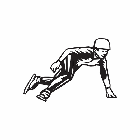 Ice Skating Sports Wall Decal - Vinyl Decal - Car Decal - DC 009