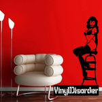 Woman Playing with Hair Pinup Decal