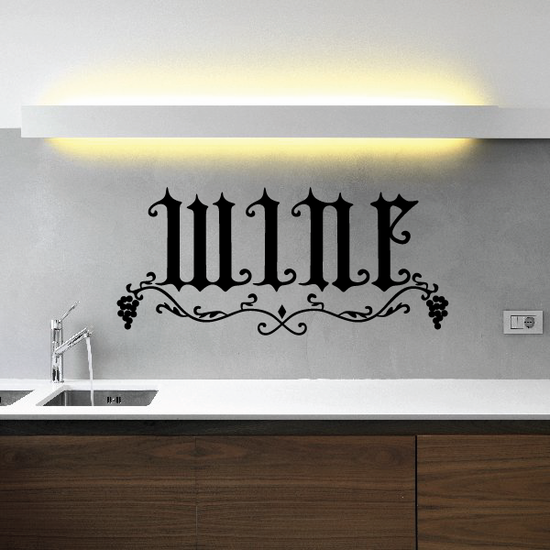 Wine Lettering with Grapes Decal
