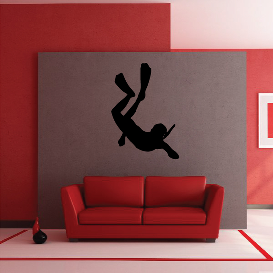 Snorkel Diving Silhouette Decal