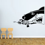 Scuba Diver Spear Fisherman being chased by Shark Decal