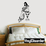 Nude Woman with Snake Leaning on Skull Decal