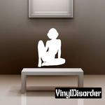 Sitting Forward Woman Silhouette Decal