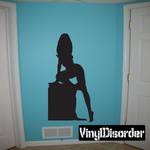 Woman Kneeling on Box Silhouette Decal