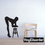 Woman Leaning Over Stool Silhouette Decal