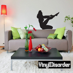 Woman Putting on Nylons Silhouette Decal