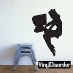 Woman on Computer PInup Silhouette Decal