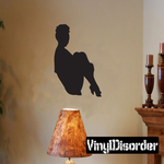Sitting Woman Holding Legs Silhouette Decal