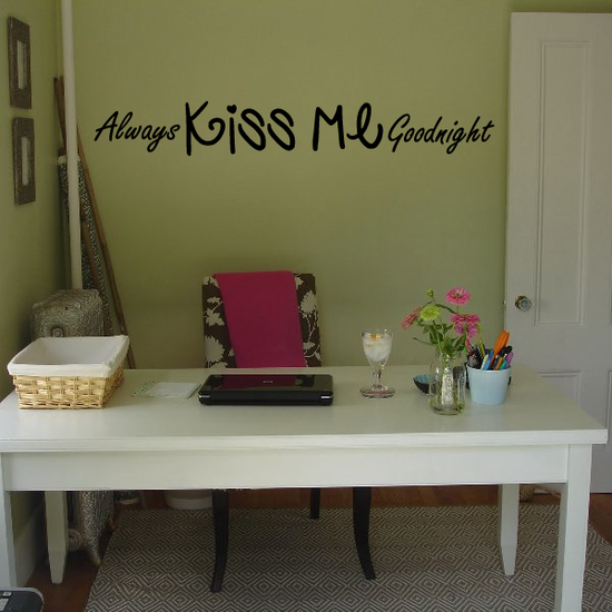 Always kiss me goodnight Heart Wall Quote Mural Decal