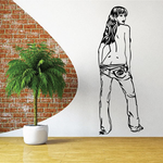 Topless Woman Removing Jeans Decal