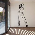 Confident Woman in Short Skirt and Heels Decal