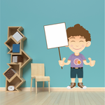 Curly Haired Boy Holding Sign Sticker