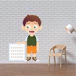 Curly Haired Boy Showing Sign Sticker