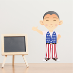 Boy Wearing USA Flag Sticker