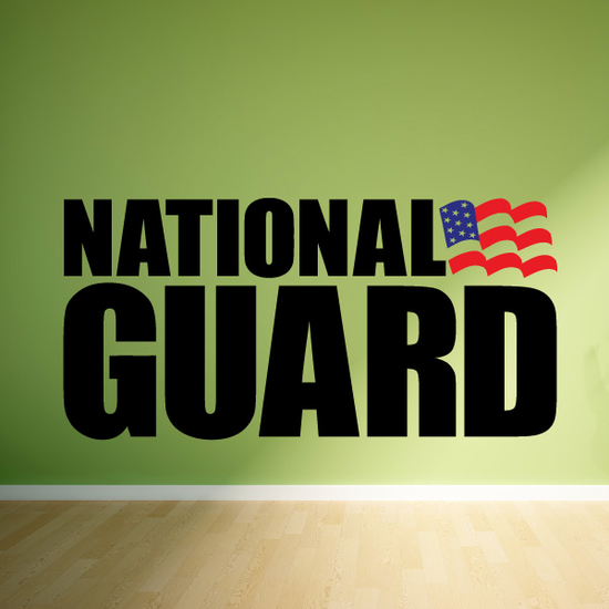 National Guard with Flag Printed Die Cut Decal