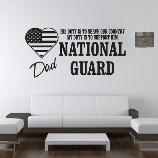His Duty Dad National Guard Decal