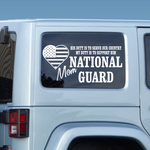 His Duty Mom National Guard Decal