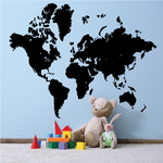 Earth Map Wall Decal - Vinyl Decal - Wall Decal