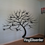 Wide Bare Tree with Leaves and Birds Kit - Wall Decals