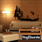 Tall Trees Grassy Lakeside with Ducks Kit - Vinyl Wall Decals