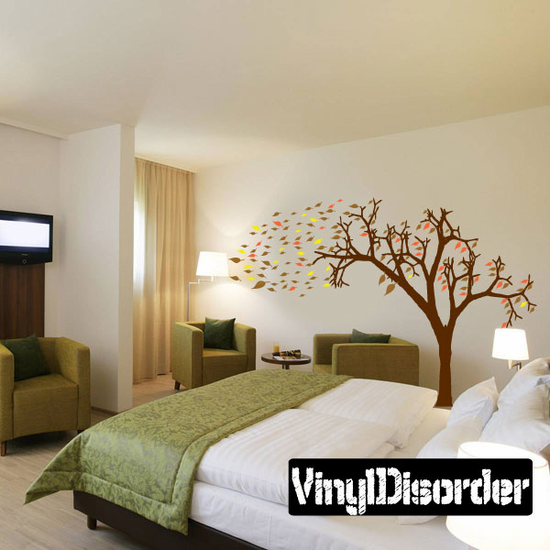 Tree and leaves Blowing in the Wind - Vinyl Wall Decals