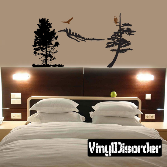 Tall Tree Mountain side with Eagles - Vinyl Wall Decals