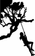 Corner Tree Branch with girl on a swing kit - Vinyl Wall Decals