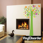 Tall Tree with Colorful flowers and Butterfly Kit - Wall Decals