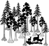 Giant Redwood Sequoia Tree with Deer Family Kit - Wall Decals